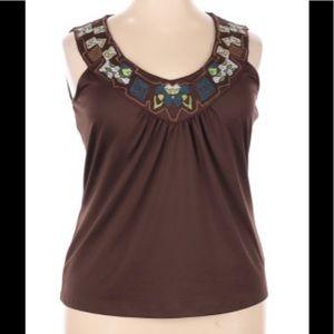 Bandolino Woman Top Brown Embroidered Neckline 2X